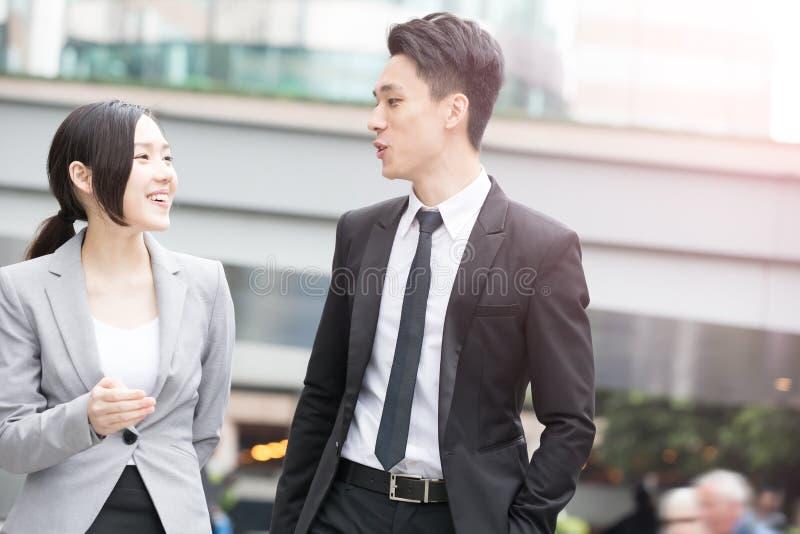 Businesspeople talk in hongkong royalty free stock photo