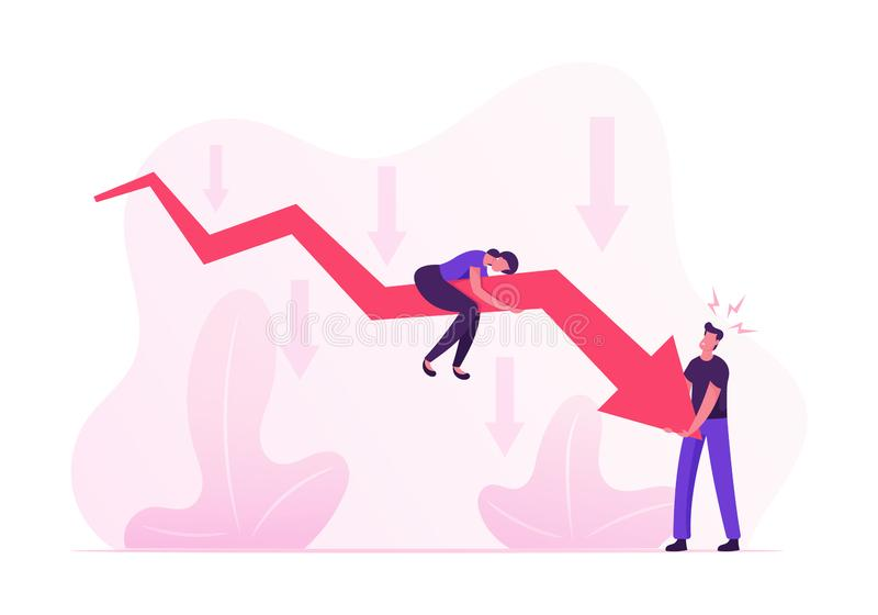 Businesspeople Trying to Rise Up Huge Red Arrow Going Down. Woman Sitting above, Man Trying to Move Falling Chart vector illustration