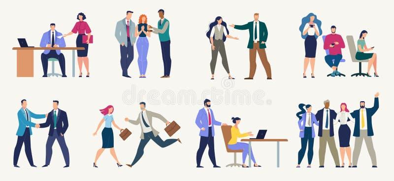 Businesspeople uppsättning för vektor för kontorsarbetare plan royaltyfri illustrationer