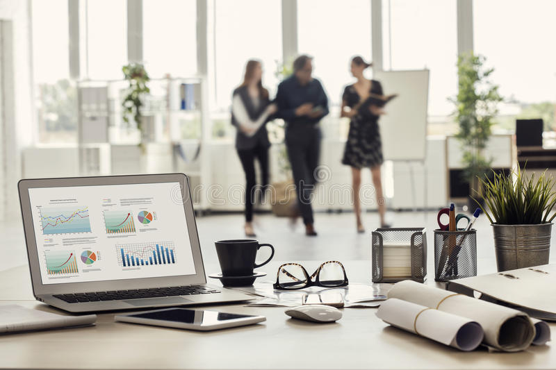 Businesspeople walking in the office royalty free stock photos