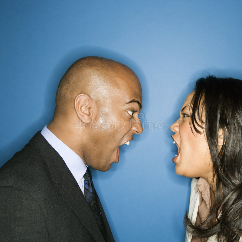 Businesspeople yelling at eachother. stock photos