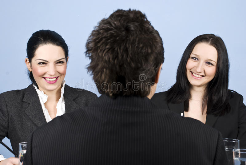 businesspeopleintervjujobb royaltyfri foto