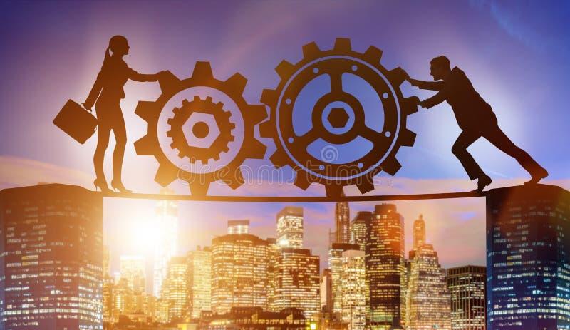 Businesspeoplena i teamworkexempel med kugghjul arkivbild