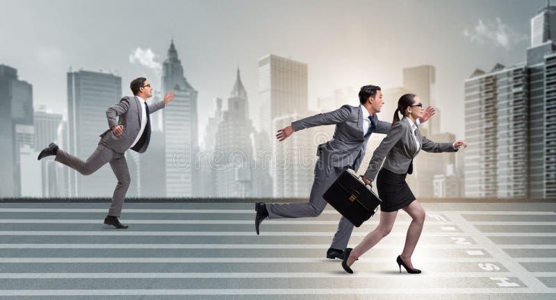 Businesspeoplena som kör i konkurrensbegrepp royaltyfri bild