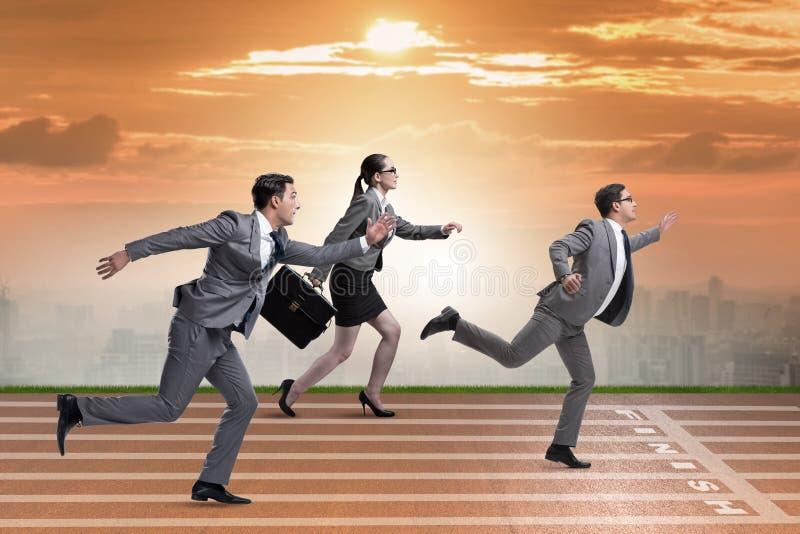 Businesspeoplena som kör i konkurrensbegrepp arkivfoto