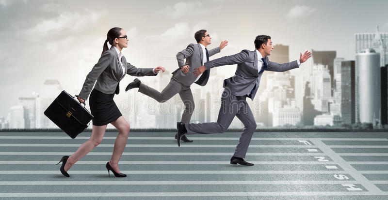 Businesspeoplena som kör i konkurrensbegrepp arkivbilder