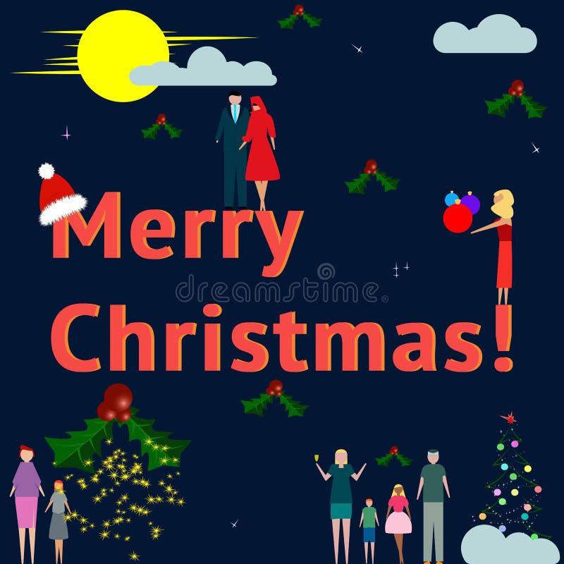 Businesspeoples y las familias celebran Feliz Navidad texto Vector ilustración del vector