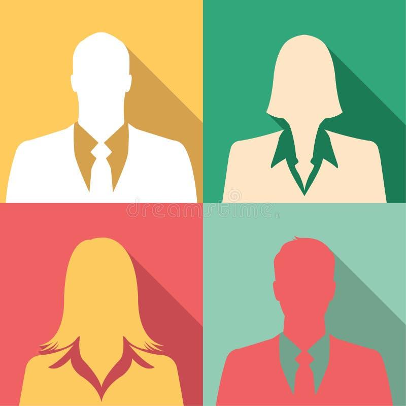 Businesspeoplesymbolsuppsättning inklusive män & kvinnlig royaltyfri illustrationer
