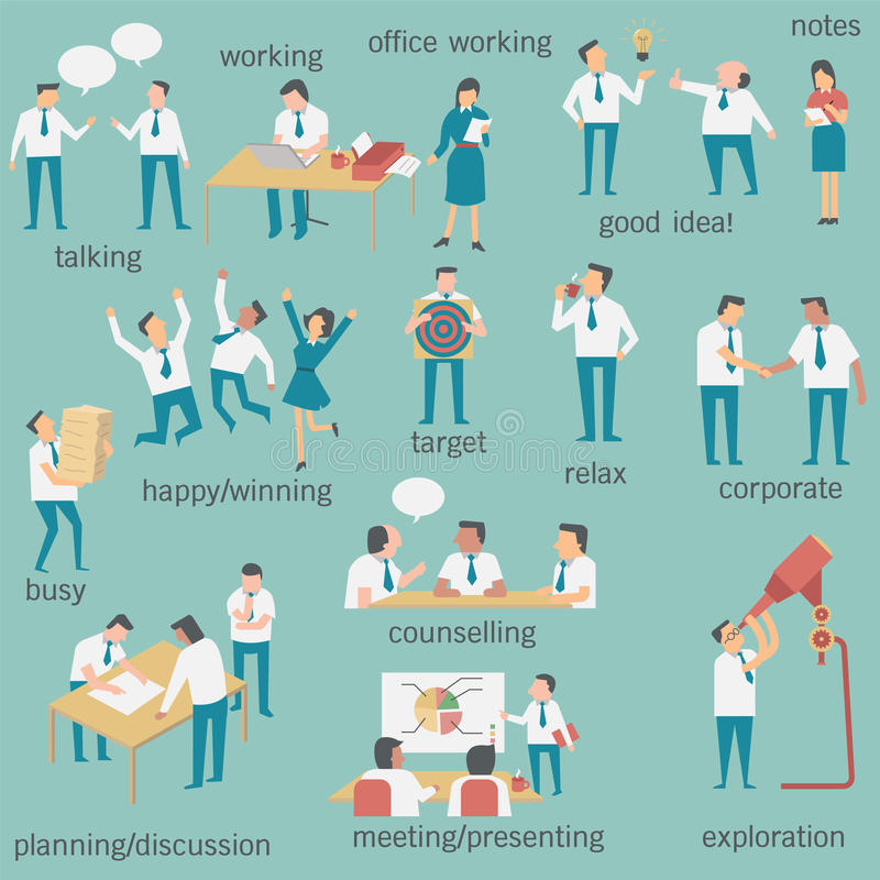 Businesspeopleuppsättning vektor illustrationer