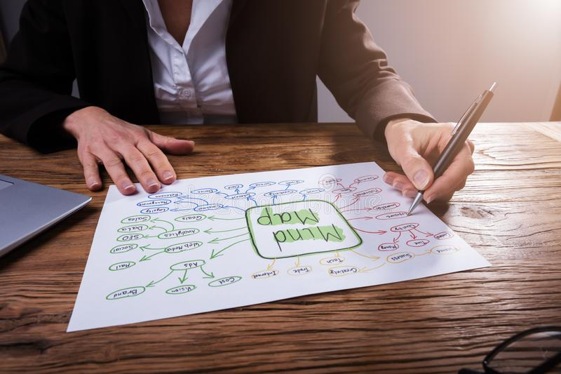 Businessperson Drawing Mind Map arkivbilder