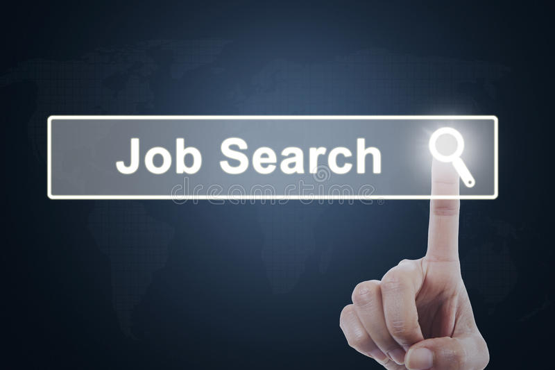 Businessperson hand pressing job search button stock images