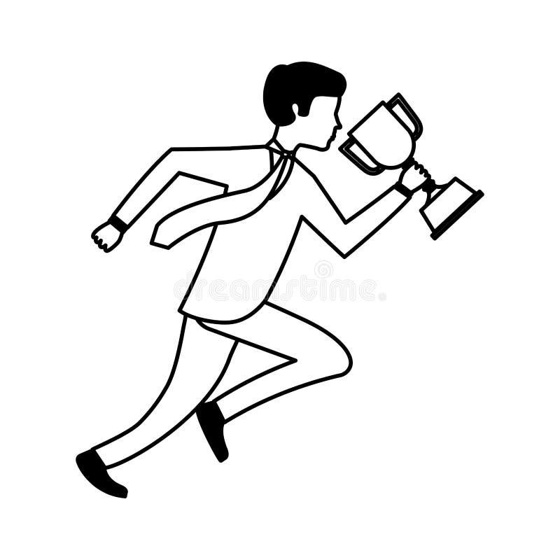 businessperson lopende avatar met trofee royalty-vrije illustratie
