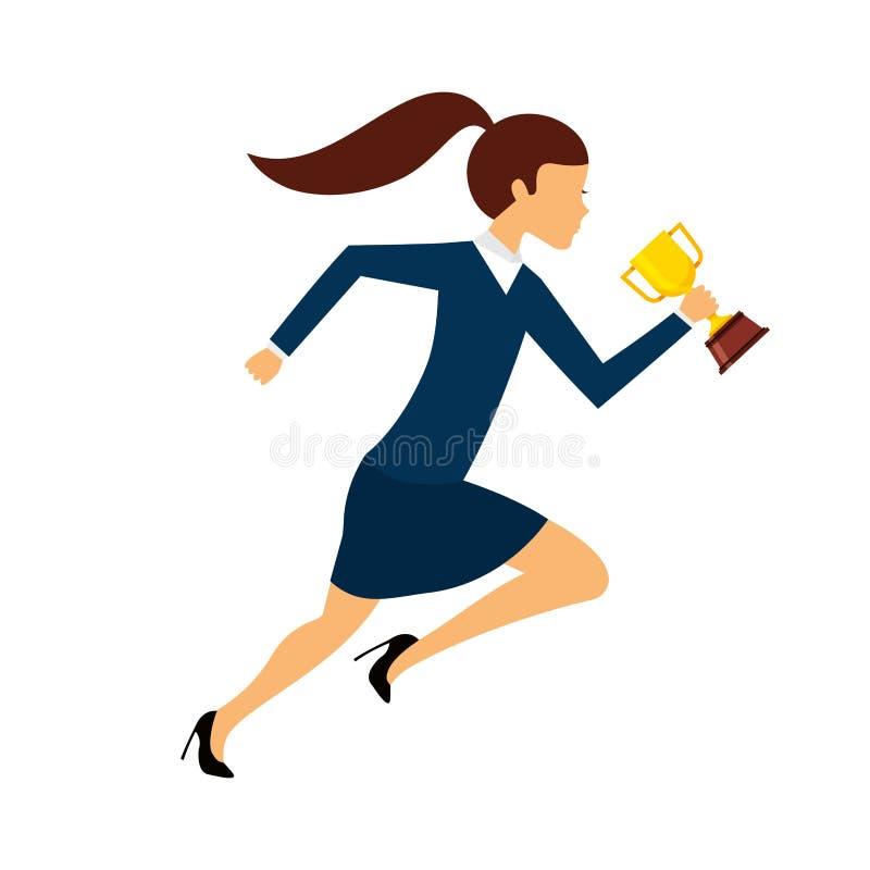 businessperson lopende avatar met trofee stock illustratie