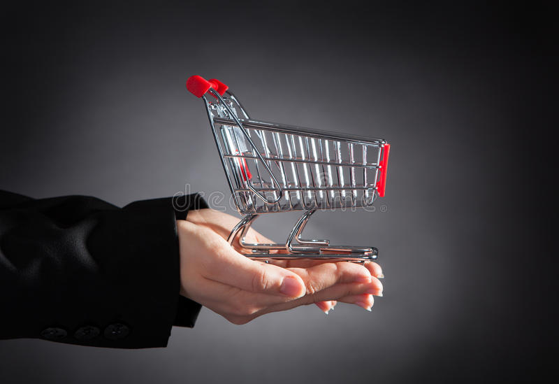 Businessperson With Shopping Cart stock photos