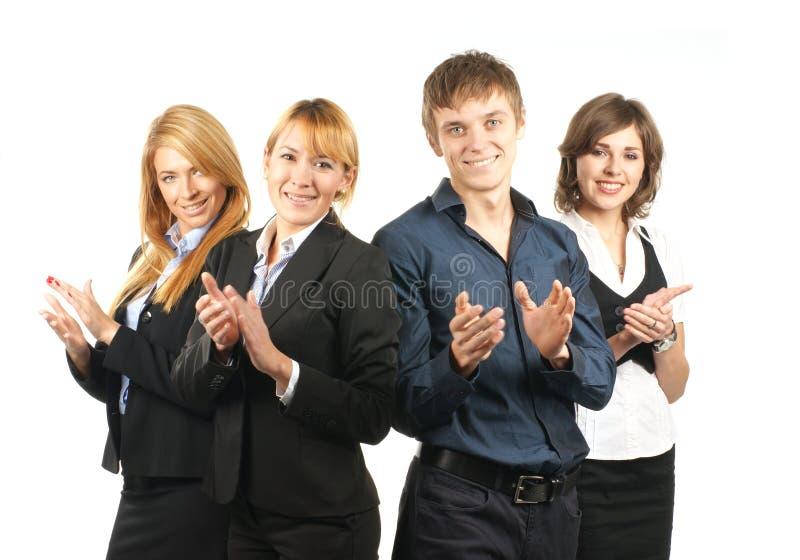 businesspersons 4 счастливых детеныша стоковые фото