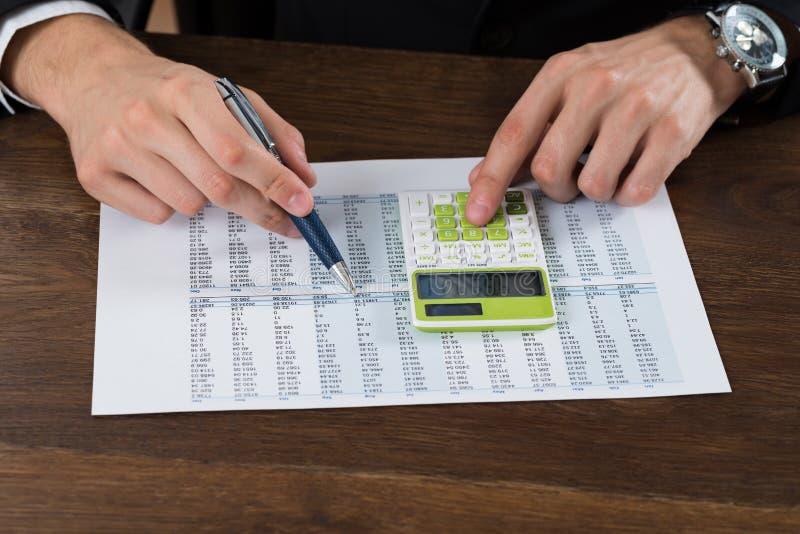 BusinesspersonWorking With Accounting dokument royaltyfri fotografi