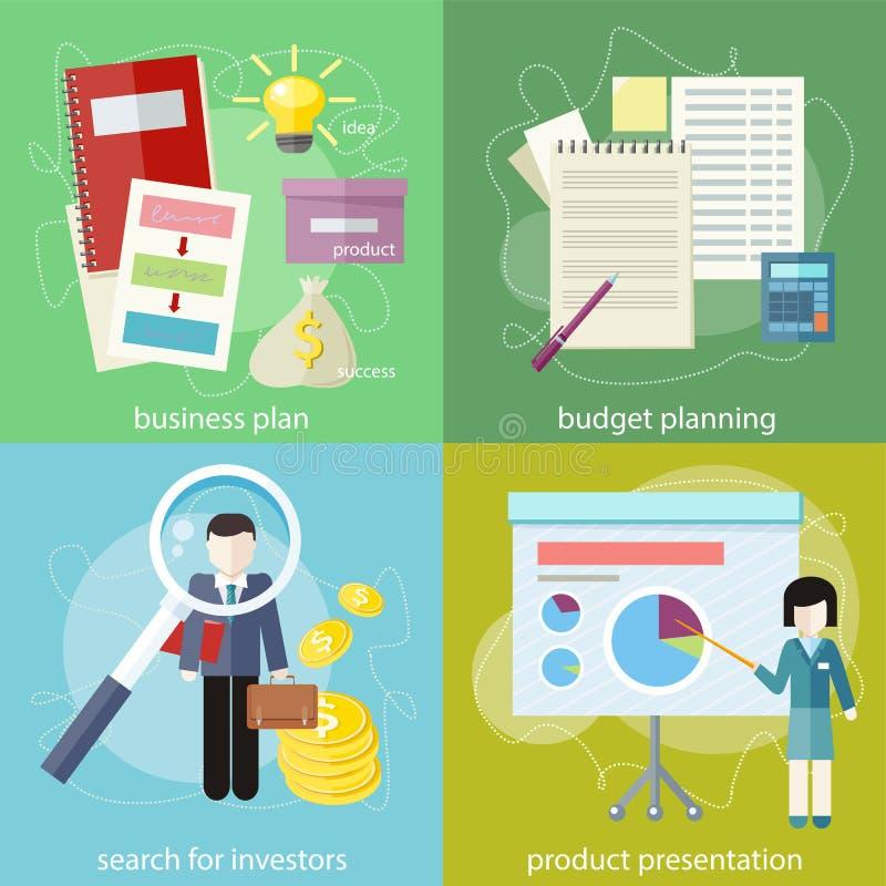businessplan, begroting planning, onderzoeksinvesteerders vector illustratie