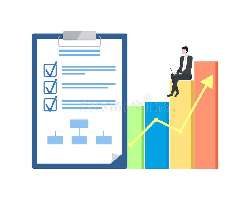 Businessplan en Statistische Grafiek, Ondernemer vector illustratie