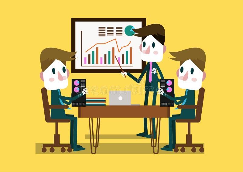 Businessplan van zakenman het onderhavige in een conferentieruimte royalty-vrije illustratie