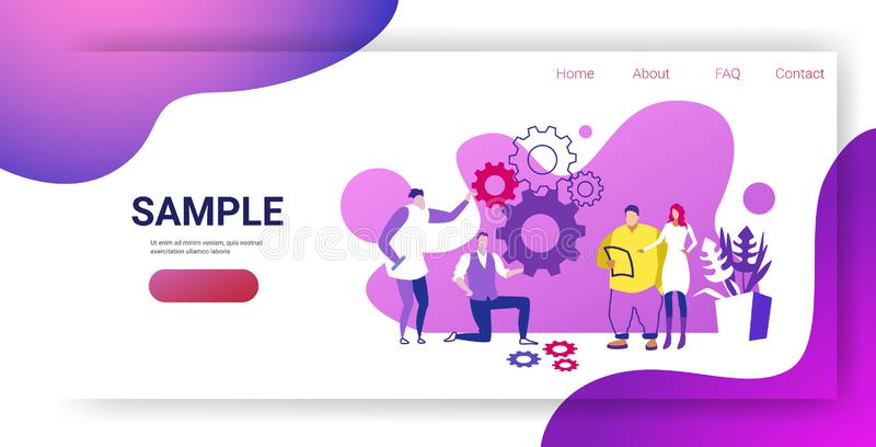 Businesspople team controlling cogwheel processing mechanism colleagues brainstorming generating new business project. Concept sketch horizontal full length royalty free illustration