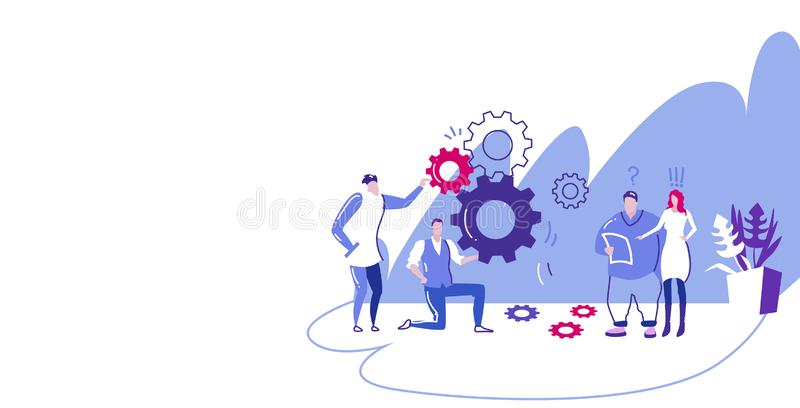 Businesspople team controlling cogwheel processing mechanism colleagues brainstorming generating new business project. Concept sketch horizontal full length vector illustration