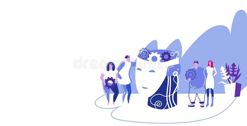 Businesspople team holding gears near human head with cogwheel brainstorming process creative idea business development. Concept colleagues working together stock illustration