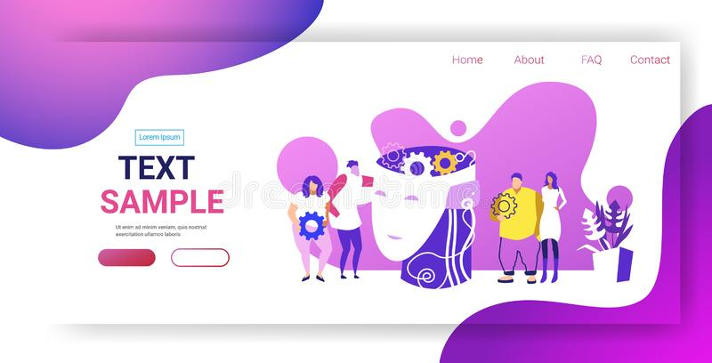Businesspople team near human head with cogwheel brainstorming process creative idea business development concept. Colleagues working together sketch horizontal royalty free illustration