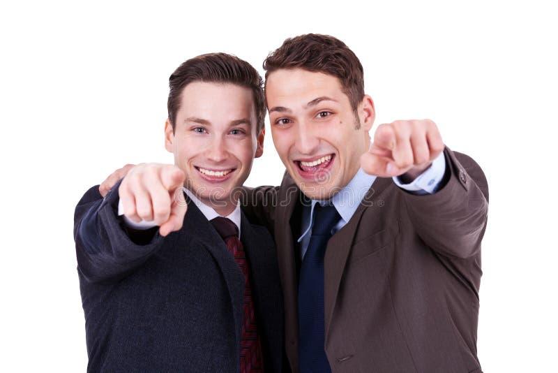 businesssmän som pekar till dig arkivfoton