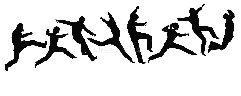 businessteam跳 皇族释放例证