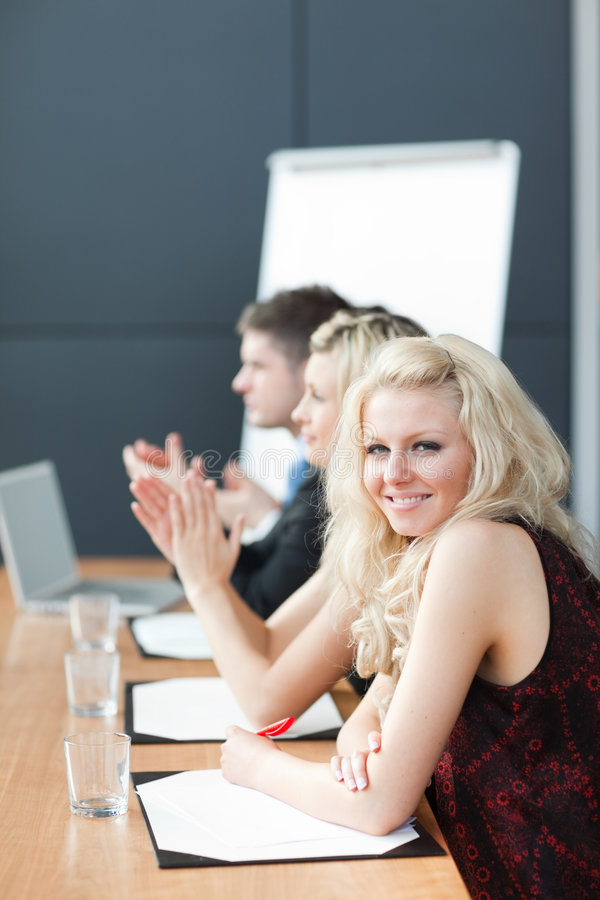 Download Businessteam à Une Présentation Battant Image stock - Image du adulte, partenariat: 8658423