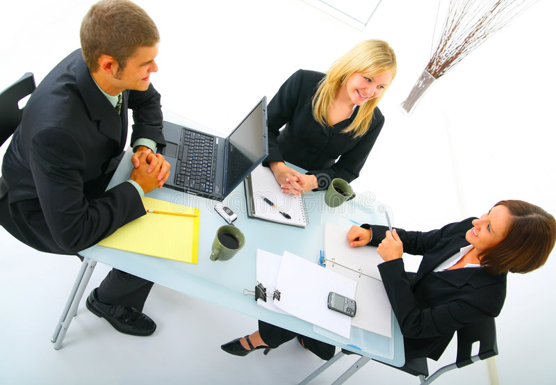 Download Businessteam Discussing In Meeting Royalty Free Stock Image - Image: 6528556