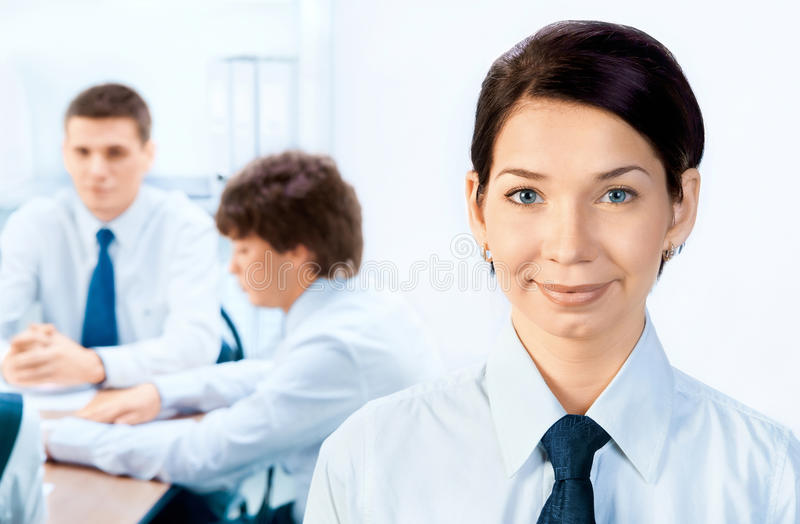 Businessteam and a leader stock image