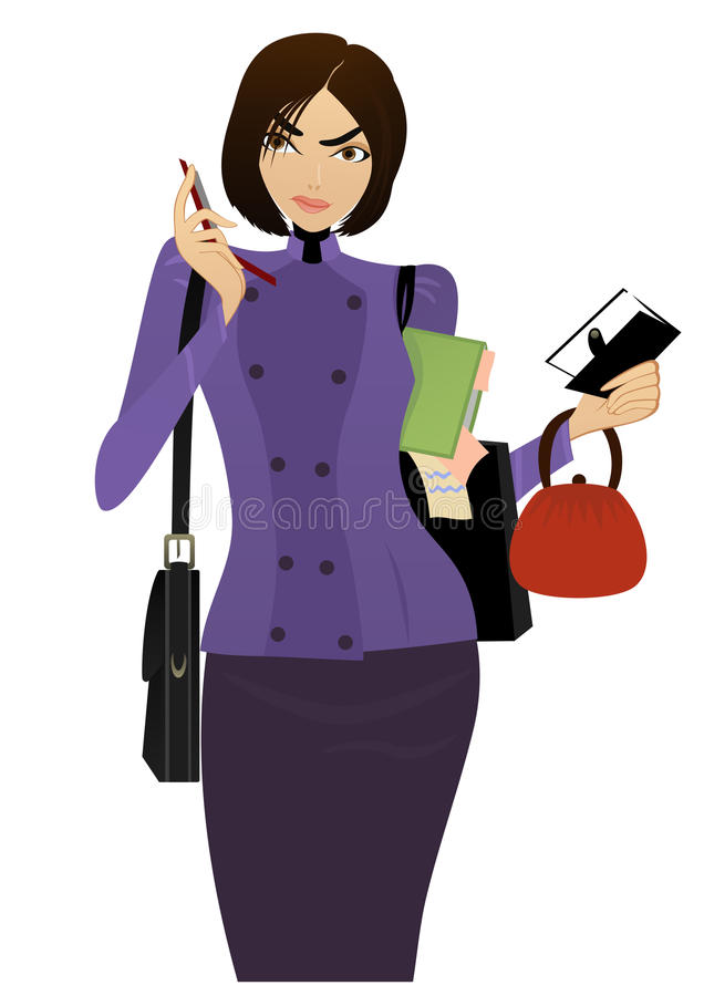 Businesswoman. Beautiful Businesswoman speaks on the cell phone and checking her task list vector illustration