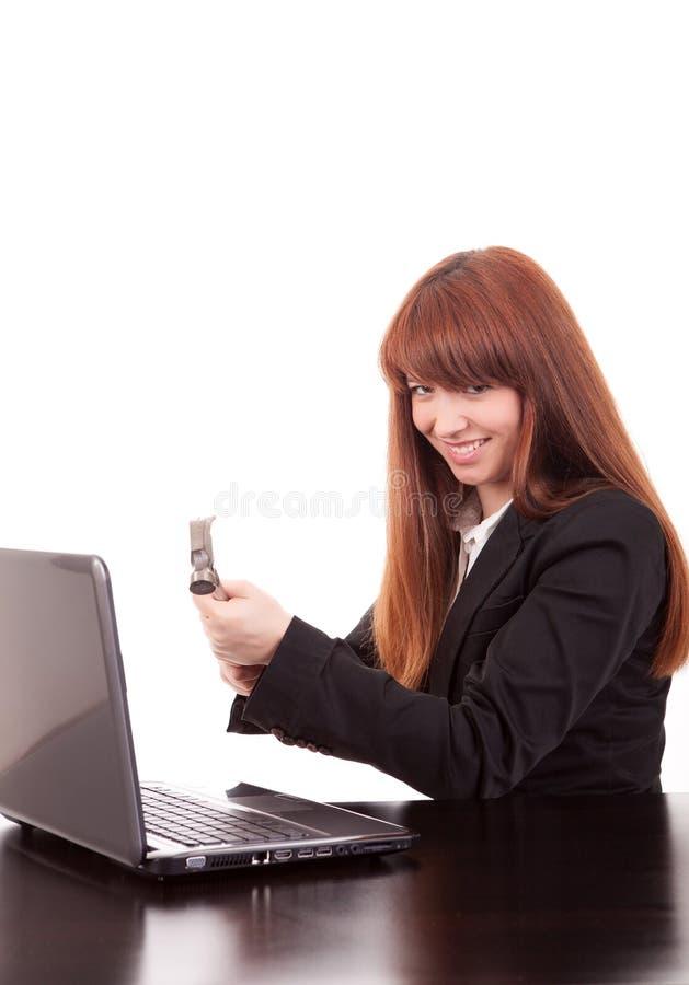 Download Businesswoman stock photo. Image of laptop, destruction - 25420410
