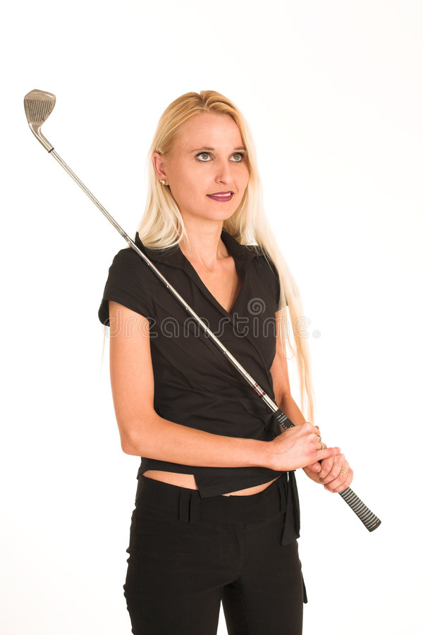 Businesswoman #384. Blond business lady in black clothes. Holding a golf club royalty free stock photo