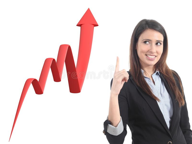 Businesswoman and a 3d render of a growth graph stock illustration
