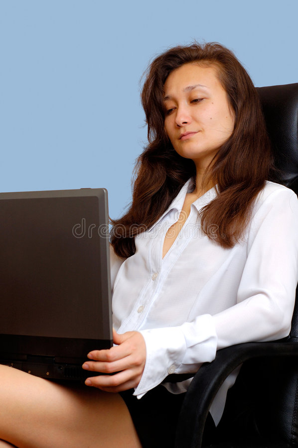 Businesswoman 4. Businesswoman with computer royalty free stock photos
