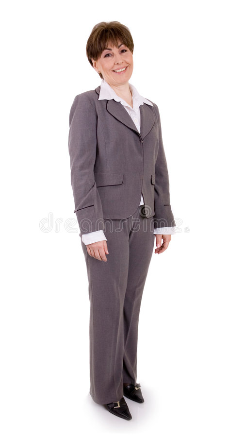 Businesswoman. Whole figure of a mature executive businesswoman, white isolated royalty free stock photos