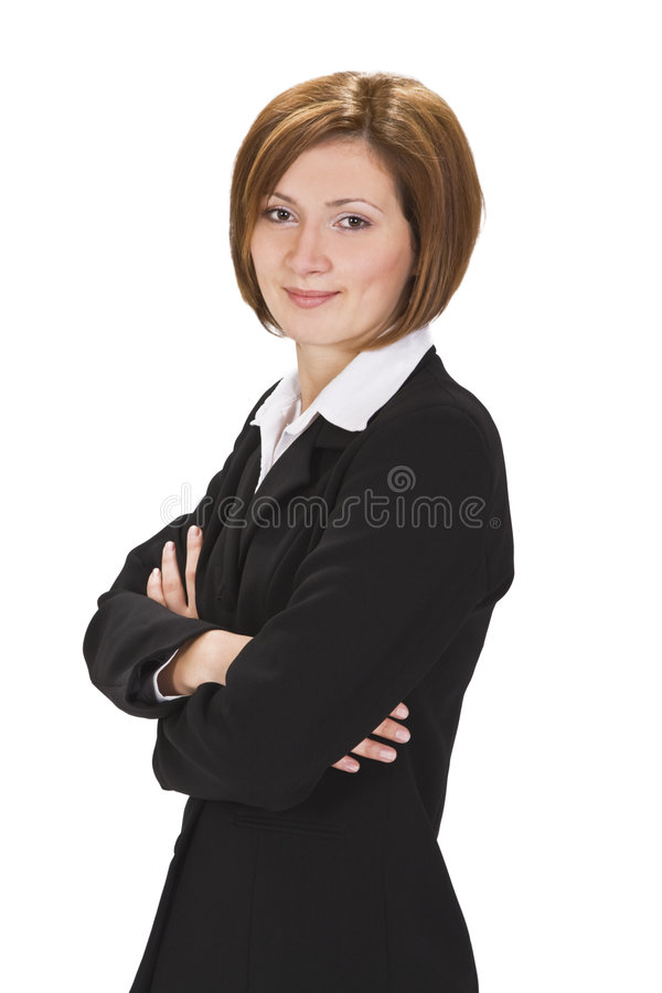 Businesswoman. Portrait of a smiling businesswoman against a white background stock images