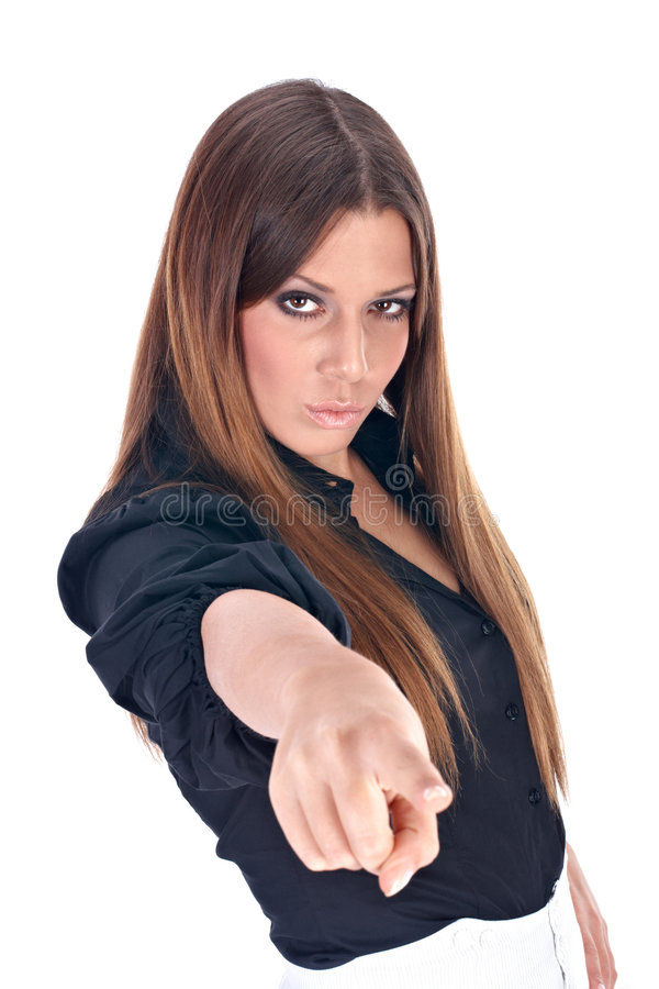 Businesswoman. Indicating to someone over white background royalty free stock image