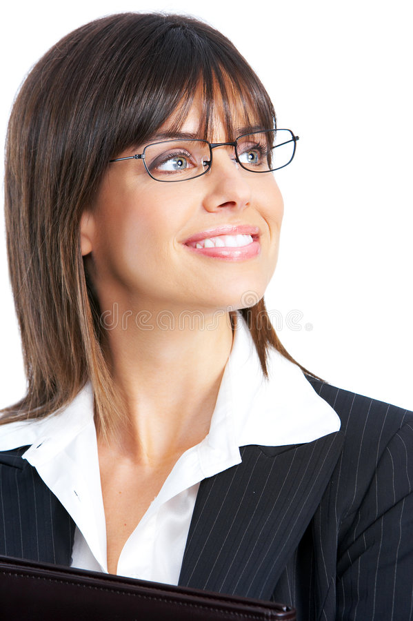 Businesswoman. Beautiful smiling businesswoman with eyeglasses. Over white background stock photography