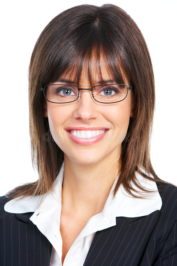 Businesswoman. Beautiful smiling businesswoman with eyeglasses. Over white background royalty free stock photography