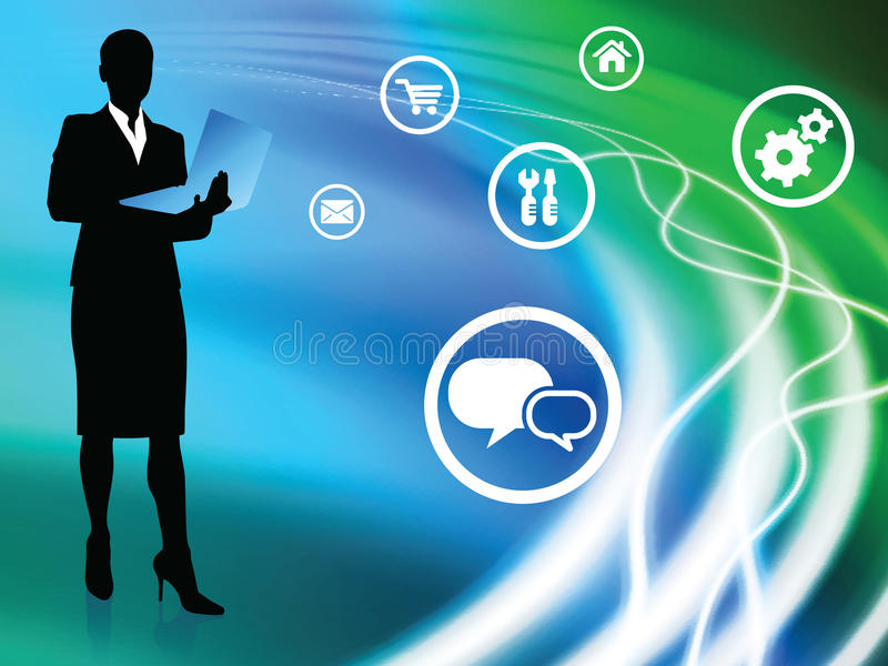 Businesswoman on Abstract Background with Icons stock illustration