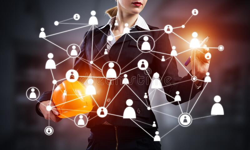 Businesswoman with abstract social network stock photo