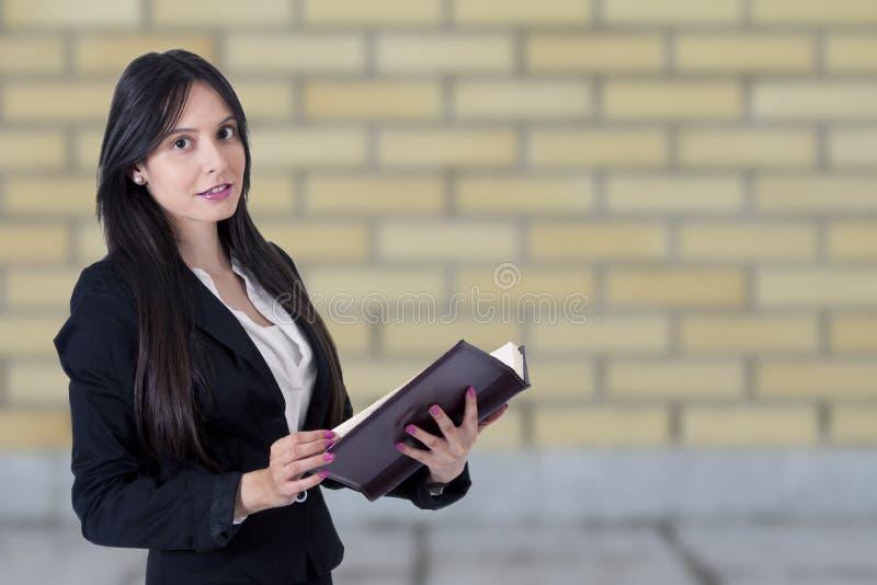 Businesswoman with address stock photos