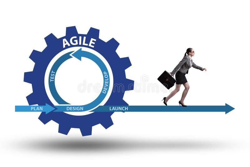 The businesswoman in agile methods concept stock illustration