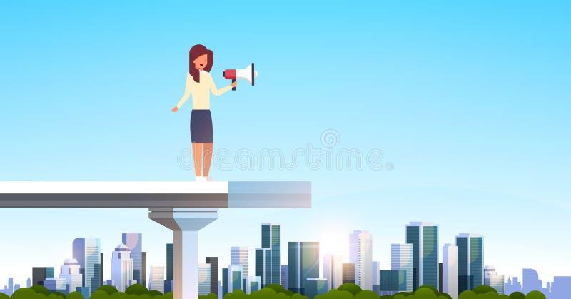 Businesswoman announcer holding loudspeaker standing edge broken bridge business woman leadership announcement concept royalty free illustration