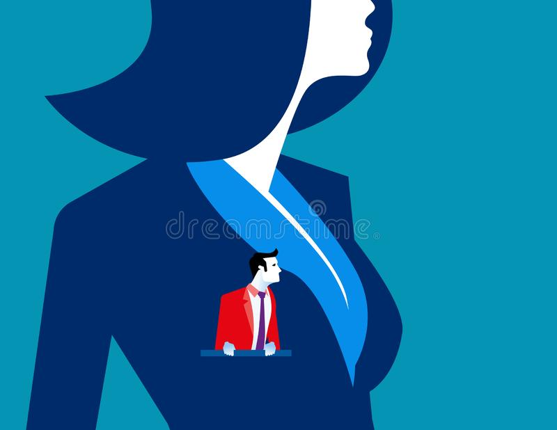 Businesswoman with another businessmen in pocket. Concept business vector illustration stock illustration