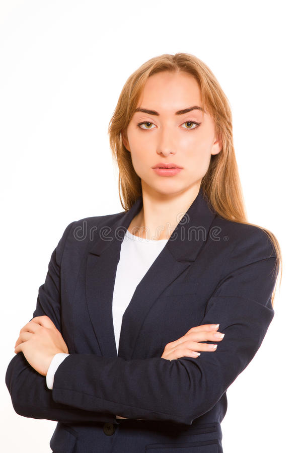Businesswoman with arms crossed stock images