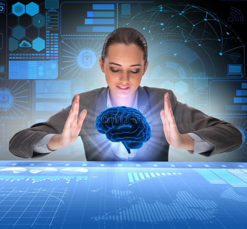 The businesswoman in artificial intelligence concept stock photos